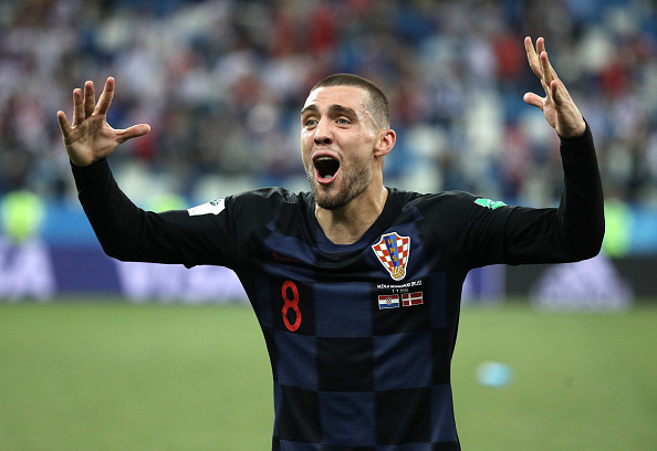 during the 2018 FIFA World Cup Russia Round of 16 match between Croatia and Denmark at Nizhny Novgorod Stadium on July 1, 2018 in Nizhny Novgorod, Russia.